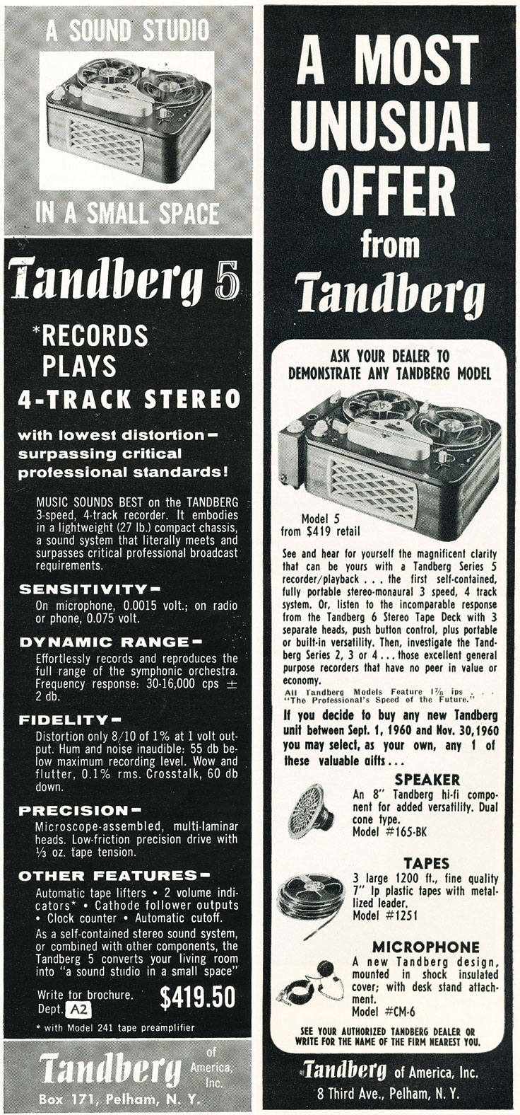 1960 ads for the Tandberg Model 5 reel to reel tape recorder in   Reel2ReelTexas.com's vintage recording collection