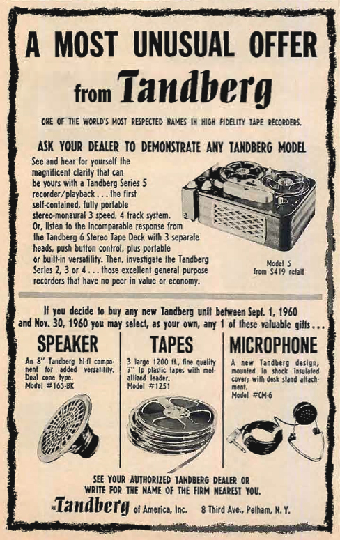 1960 ad for the Tandberg Series 5 reel to reel tape recorder in   Reel2ReelTexas.com's vintage recording collection