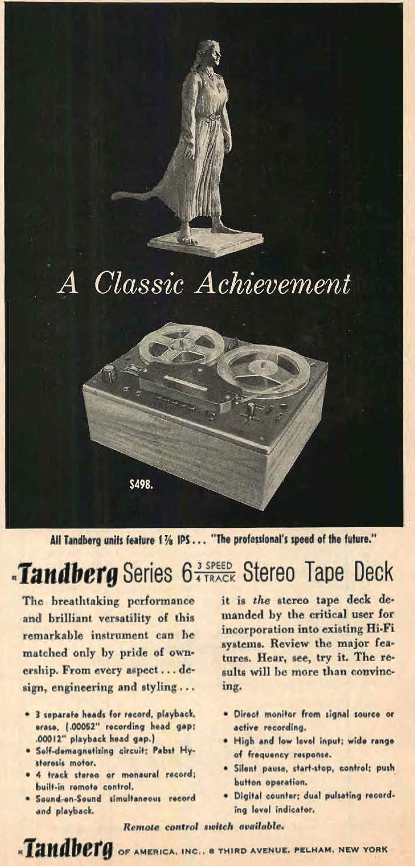 1960 ad for the Tandberg Series 6 reel to reel tape recorder in   Reel2ReelTexas.com's vintage recording collection