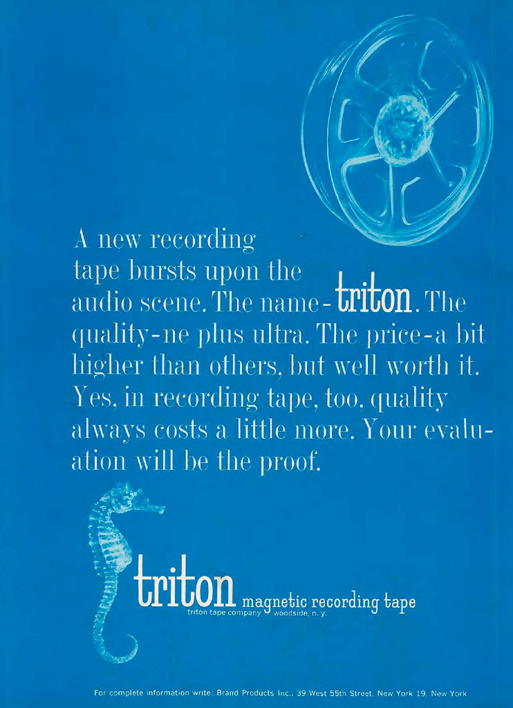 1960 ad for Triton reel to reel recording tape in Reel2ReelTexas.com's vintage recording collection