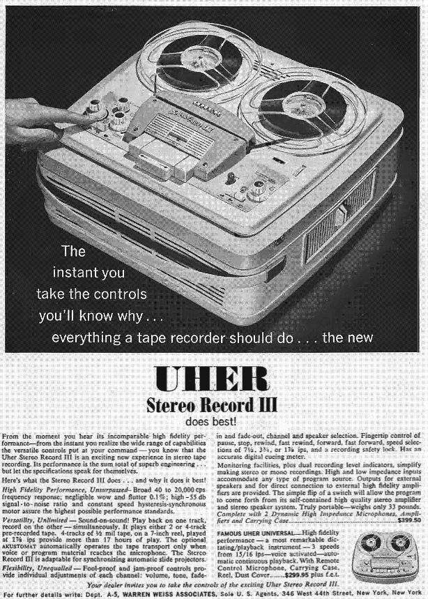 1960 ad for Uher Stereo record III reel to reel tape recorders in the Reel2ReelTexas.com's vintage recording collection