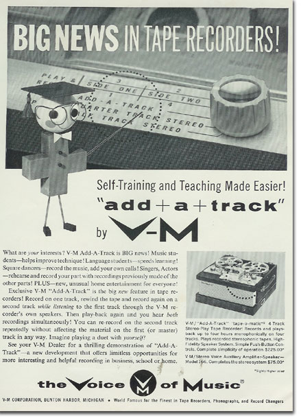 1960 Voice of Music reel to reel tape recorder ad in the Reel2ReelTexas.com's vintage recording collection