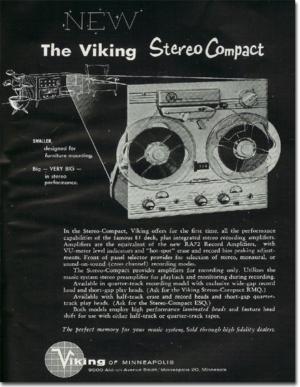 1960 ad for the Viking Stereo Compact reel to reel tape recorder ad in the Reel2ReelTexas.com's vintage recording collection