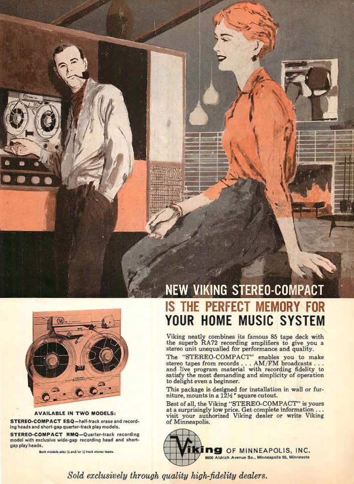 1960 ad for the Viking Super Pro reel to reel tape recorder ad in the Reel2ReelTexas.com's vintage recording collection