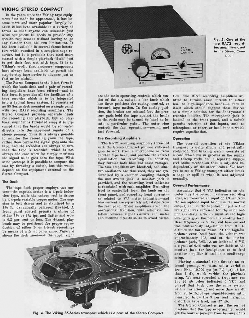 1960 ad for the Viking Stereo Compact reel to reel tape recorder review in the Reel2ReelTexas.com's vintage recording collection