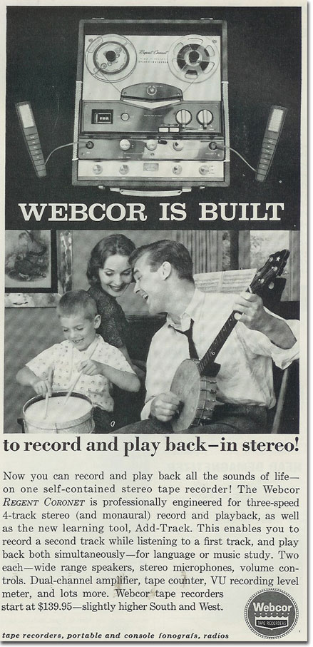 1960 Webcor reel to reel tape recorder ad in the Reel2ReelTexas.com's vintage recording collection