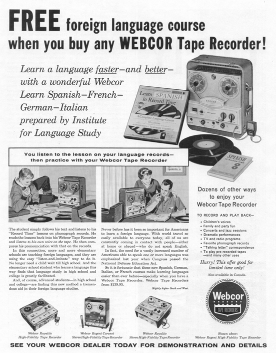 1960 ad for the Webcor reel to reel tape recorders in Reel2ReelTexas.com's vintage recording collection