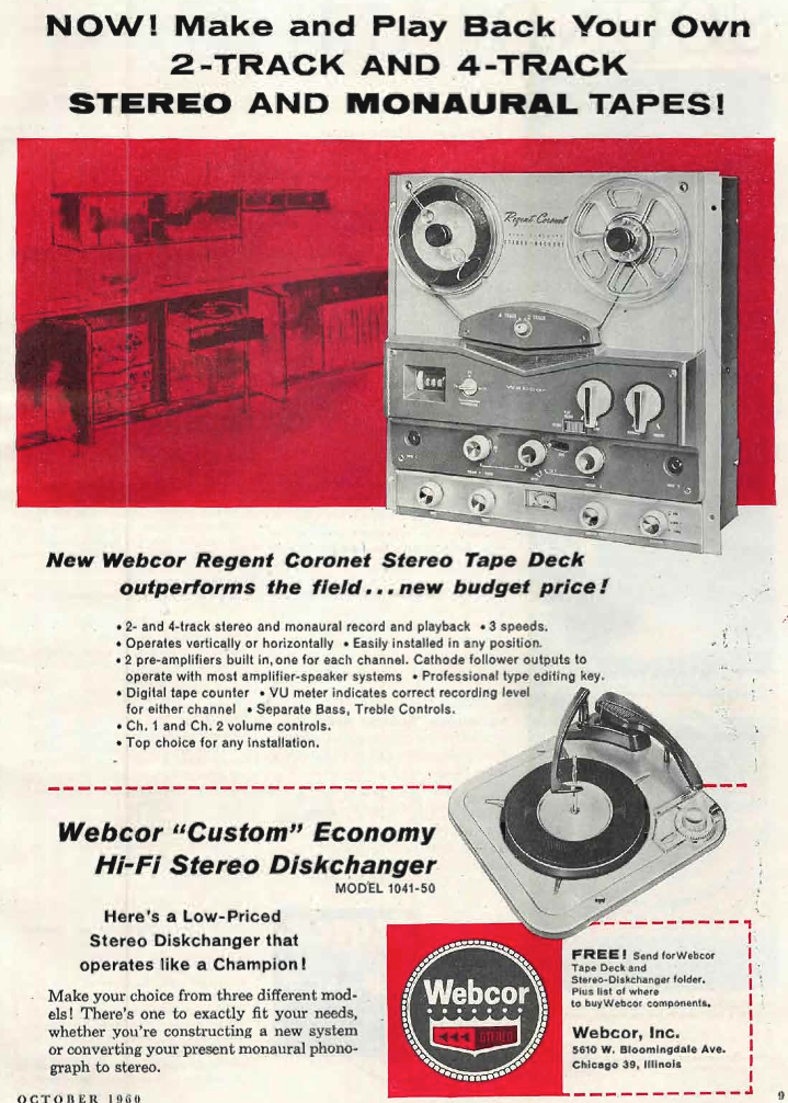 1960 ad for the Webcor Coronet reel to reel tape recorders in Reel2ReelTexas.com's vintage recording collection