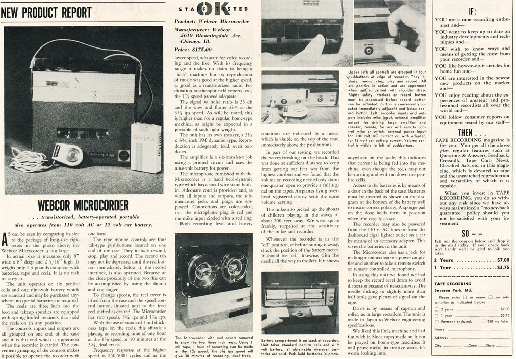 1960 ad for the Webcor Microcorder reel to reel tape recorder in Reel2ReelTexas.com's vintage recording collection