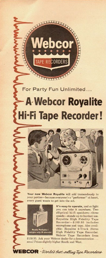 1960 ad for the Webcor Royalite reel to reel tape recorders in Reel2ReelTexas.com's vintage recording collection
