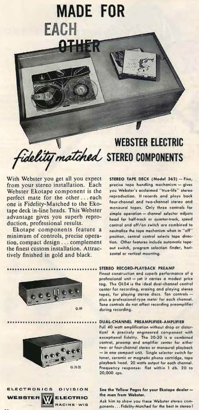 1960 ad for the Western Electric EkoTape reel tape recorder in Reel2ReelTexas.com's vintage recording collection