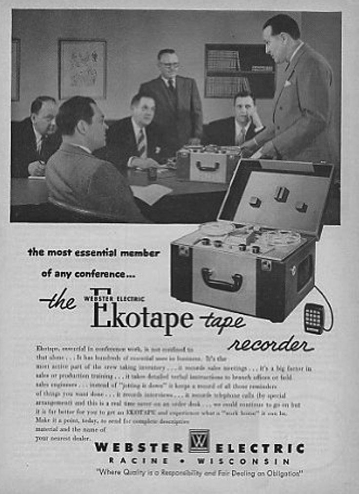 1960 ad for the  Webster Electric  reel to reel tape recorder in the Reel2ReelTexas.com vintahe recording collection