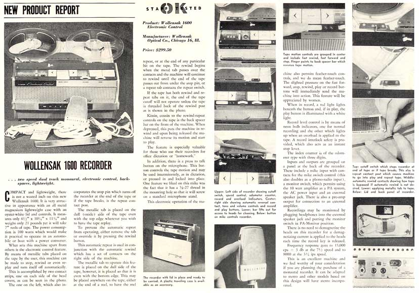 1960 Review of the Wollensak 1600 tape recorder in Reel2ReelTexas.com's vintage recording collection