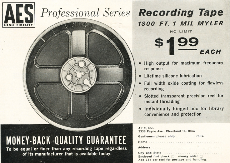 1961 ad for AES reel to reel recording tape in Phantom Productions' vintage recording collection