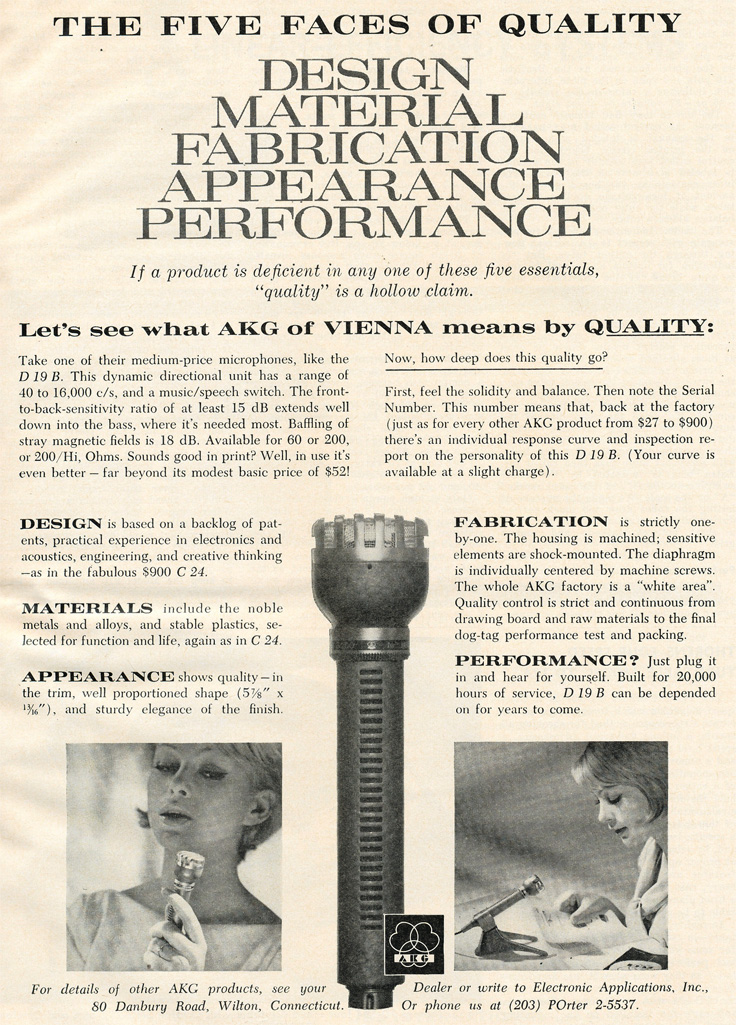 1961 ad for AKG microphones in Phantom Productions' vintage recording collection