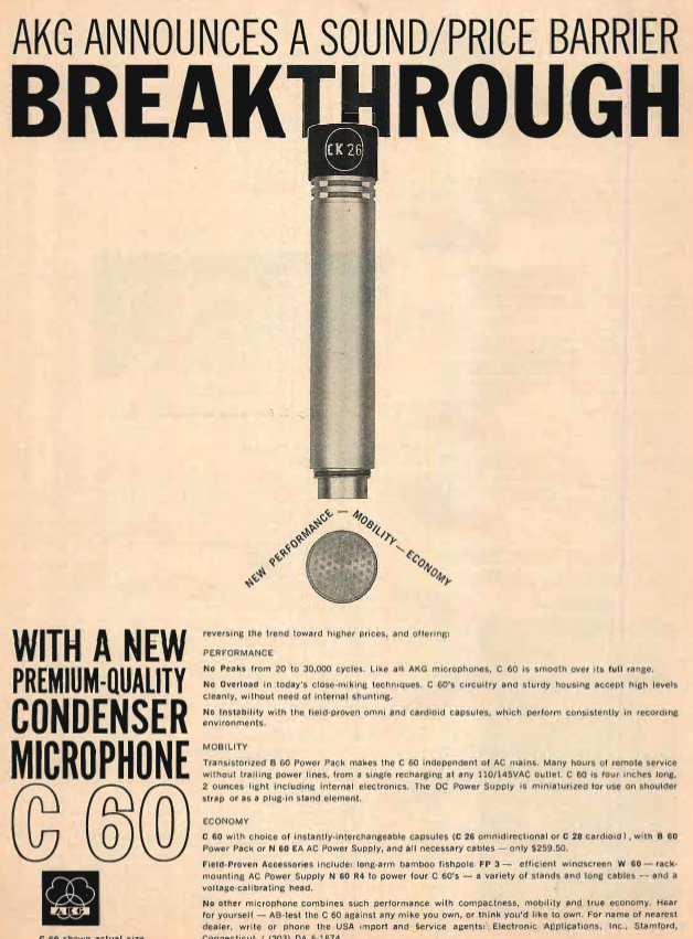 1961 ad for AKG C-60 microphones in Reel2ReelTexas.com's vintage recording collection