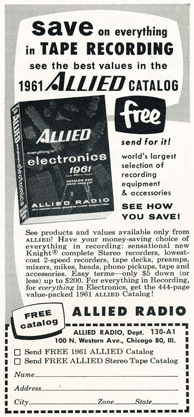 1961 ad for the Allied Radio catalog in Reel2ReelTexas.com's vintage recording collection