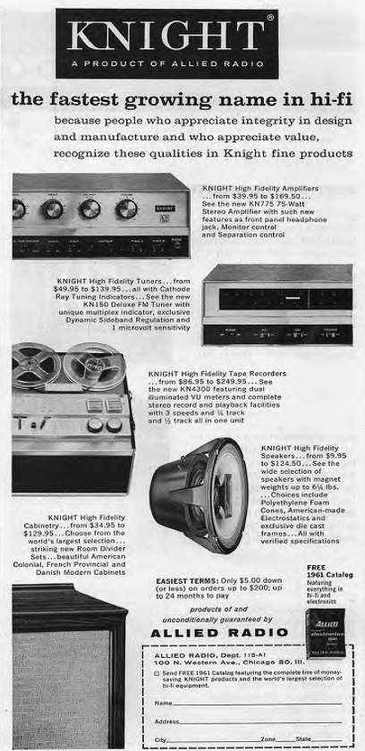 1961 ad for the Allied Radio Knight reel to reel tape recorder in Reel2ReelTexas.com's vintage recording collection