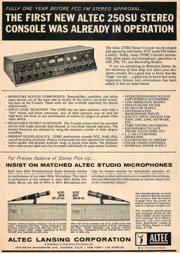 1961 ad for the Altec 250SU stereo console mixer  and Altec 684A microphones in the Reel2ReelTexas.com's vintage recording collection