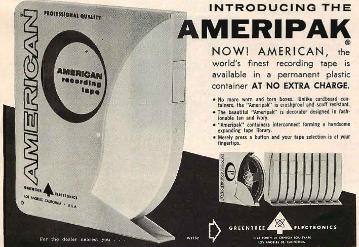 1961 ad for American Recording tape in Reel2ReelTexas.com's vintage recording collection