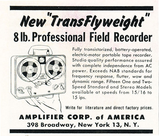 1961 ad for the Amplifier Corporation of America's Field Reel Tape recorder in Reel2ReelTexas.com's vintage recording collection