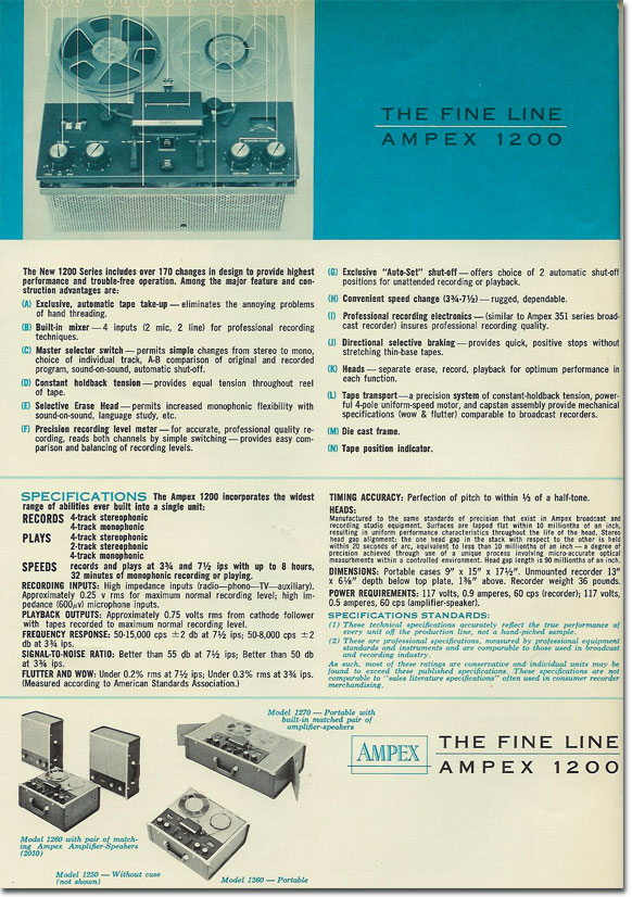 1961 ad for the Ampex 934 reel to reel tape recorder in Reel2ReelTexas.com's vintage recording collection