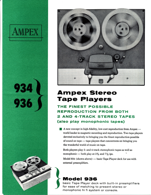 1961 ad for the Ampex 936 reel to reel tape recorder in Reel2ReelTexas.com's vintage reel tape recorder collection