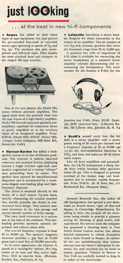 1961 review of the Ampex 960 reel to reel tape recorder in Reel2ReelTexas.com's vintage recording collection