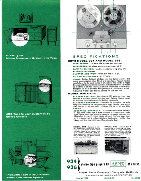 1961 ad for the Ampex 936 reel to reel tape recorder in Phantom Productions' vintage reel tape recorder collection