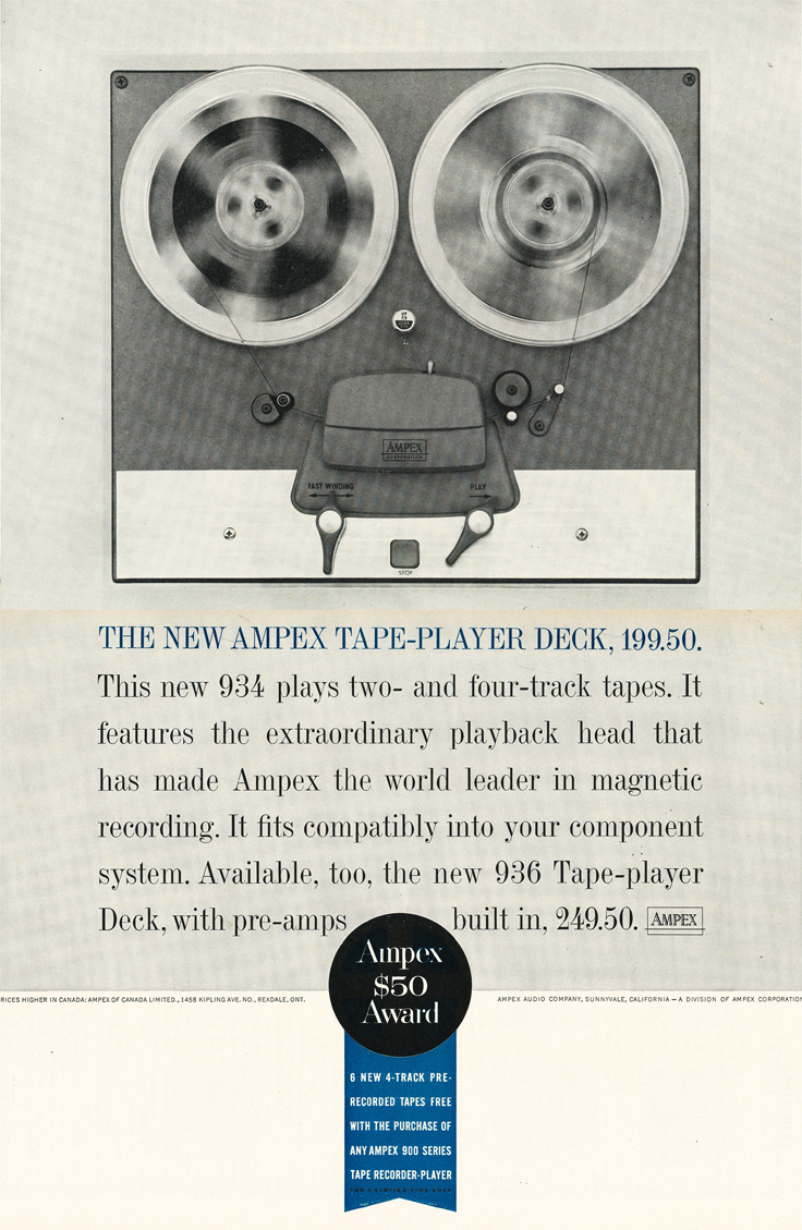 1961 ad for the Ampex 934 reel to reel tape recorder in Phantom Productions' vintage recording collection