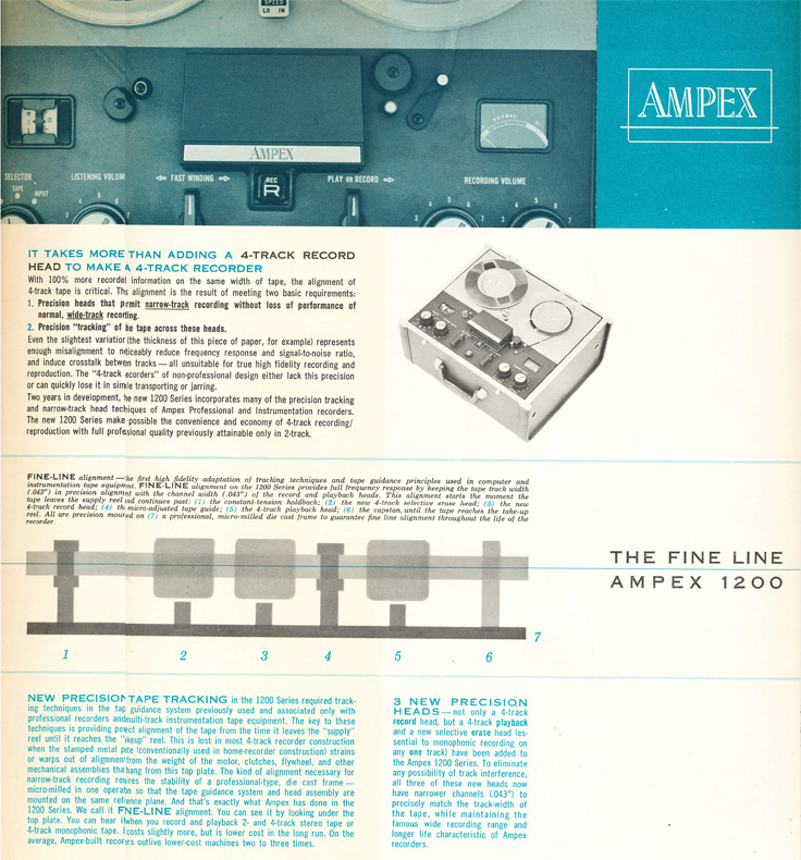 Part 2 of 1961 ad for rhe Ampex Fine Line 1200 reel to reel tape recorder in Phantom Productions' vintage recording collection