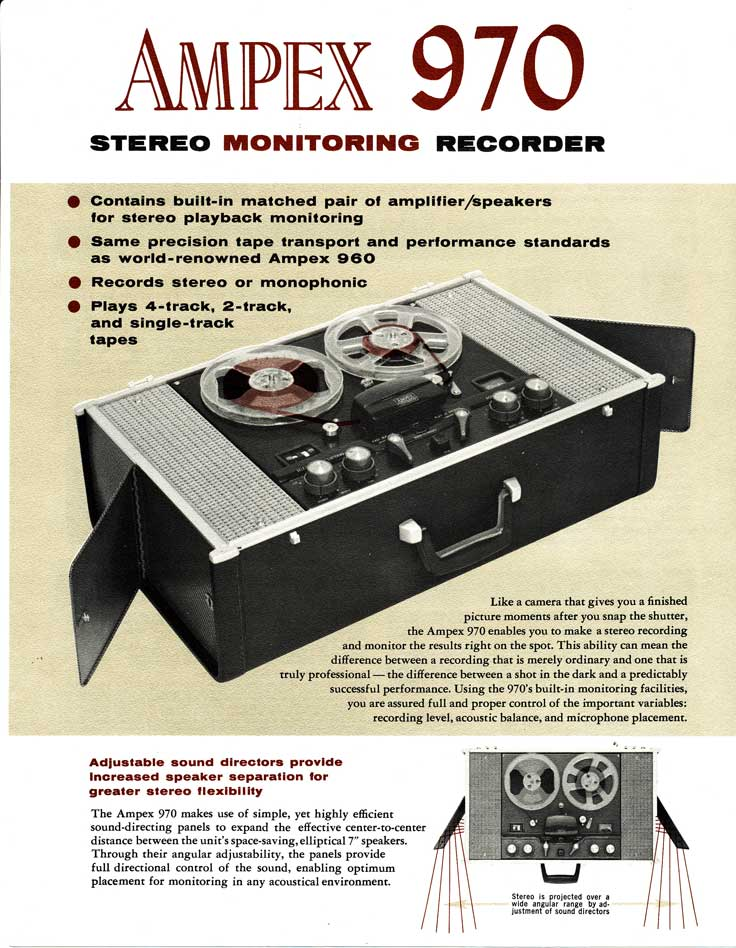 1961 Ad for the Ampex 970 reel tape recorder in Phantom Productions' vintage recording collection