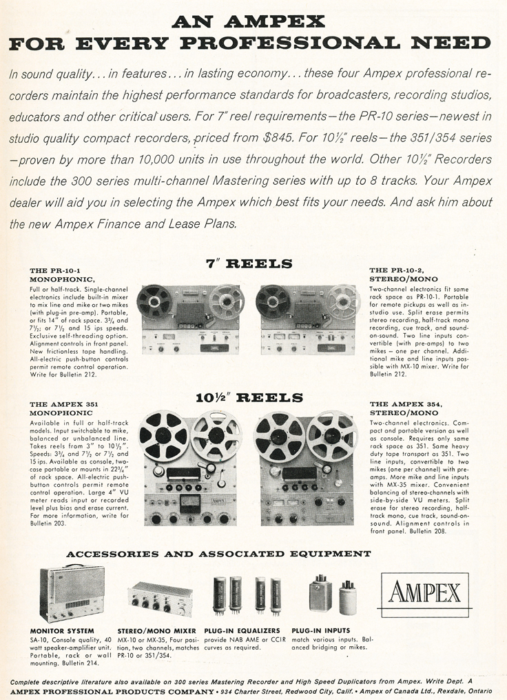 1961 ad for Ampex professional reel to reel tape recorders in Phantom Productions' vintage recording collection