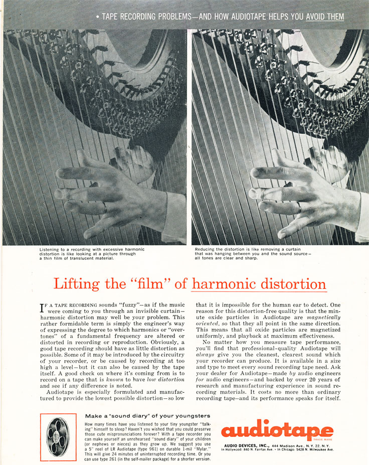 1961 ad for Audio Devices' AudioTape in Phantom Productions' vintage recording collection