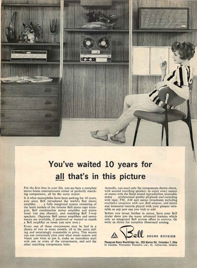 1961 Bell Sound Division reel to reel tape recorder ad in the Phantom Productions vintage recording collection