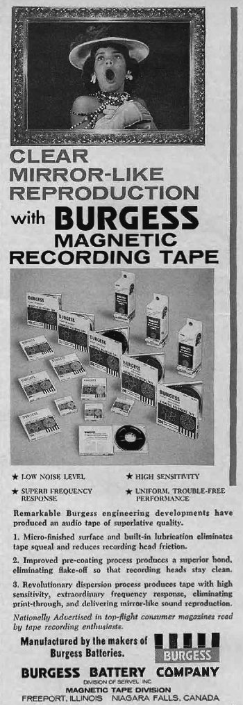 1961 ad for Burgess reel to reel recording tape in Reel2ReelTexas.com's vintage recording collection