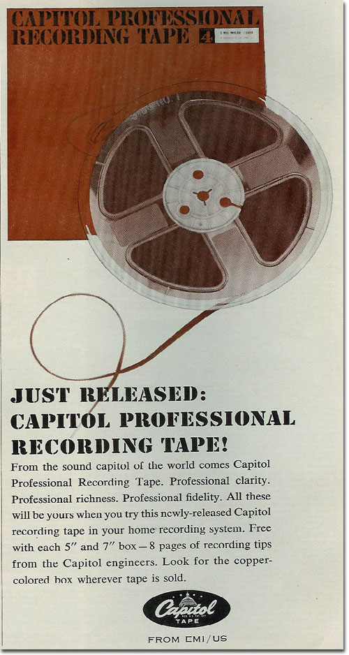 picture of 1961 Capitol reel to reel tape  ad