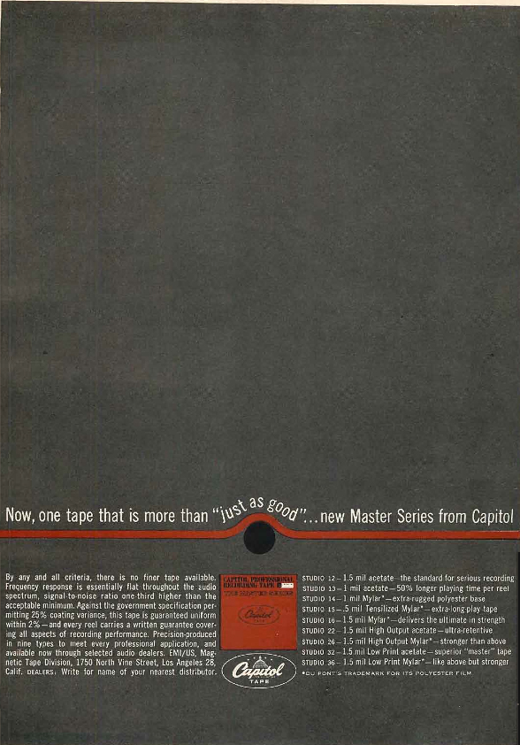 1961 Capitol reel to reel tape  ad