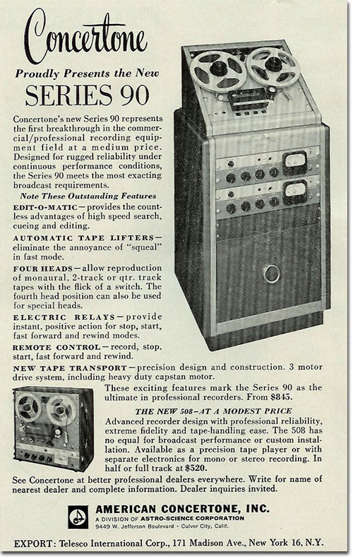 picture of 1961 Concertone reel to reel tape recorder ad