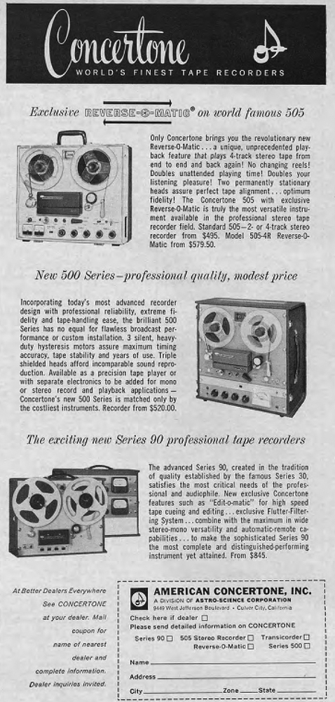 1961 Concertone 505 reel to reel tape recorder ad in the Phantom Productions vintage recording collection