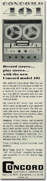 picture of 1961 Concord reel to reel tape recorder ad