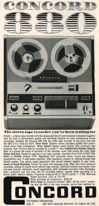 1961 Concord 880 reel to reel tape recorder ad in the Phantom Productions vintage recording collection