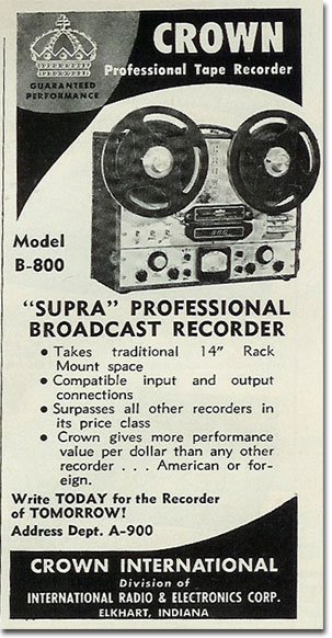 picture of 1961 Crown reel to reel tape recorder ad