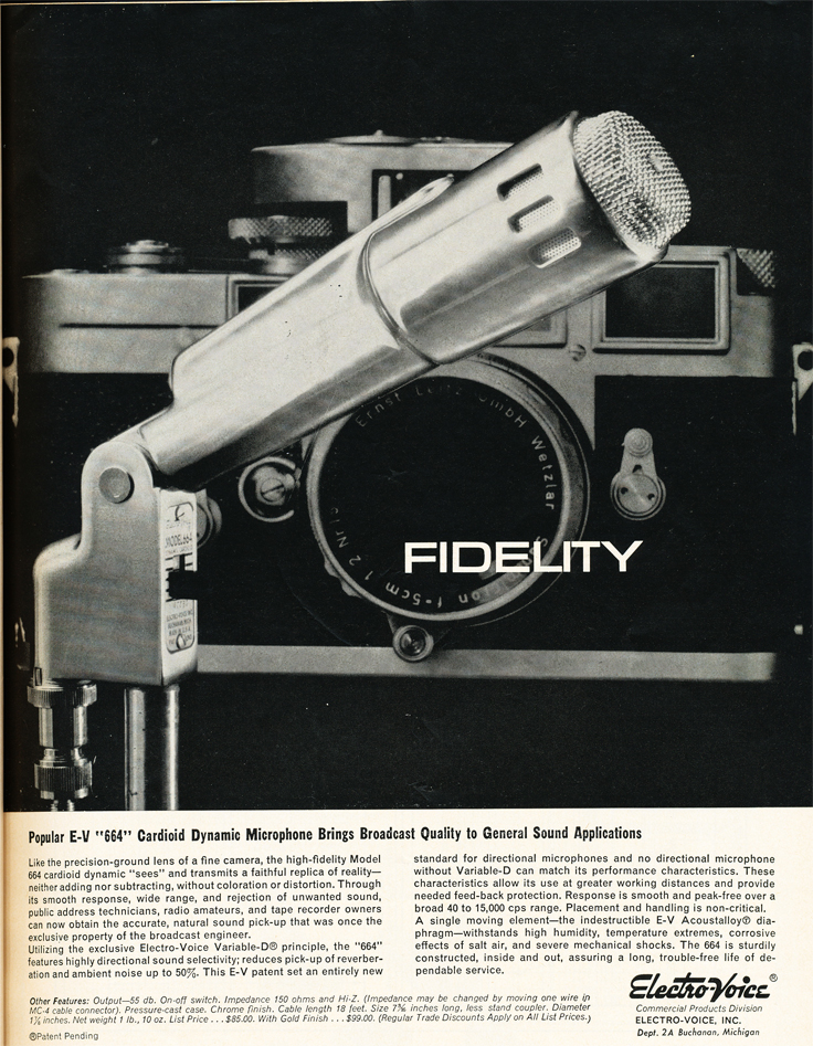 1961 ad for the Electro Voice 664 microphone in Phantom Productions' vintage recording collection