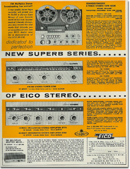picture of 1961 Eico reel to reel tape recorder ad