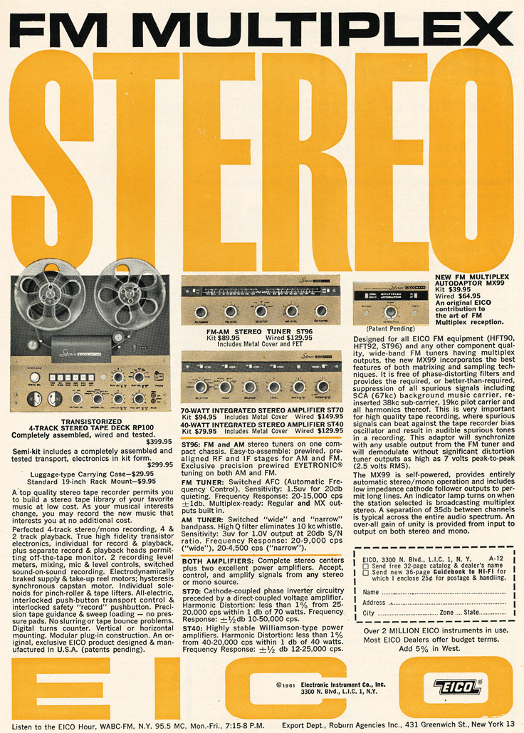 1961 ad for the Eico RP100 reel to reel tape recorder in Reel2ReelTexas.com's vintage recording collection