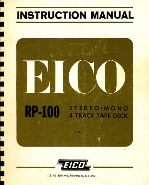 1961 instruction manual cover for the Eico RP-100 reel to reel tape recorder in Phantom Productions' vintage reel tape recorder collection