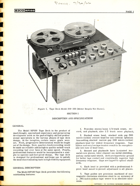 1961 instruction manual for the Eico RP-100 reel to reel tape recorder in Reel2ReelTexas.com's vintage reel tape recorder collection