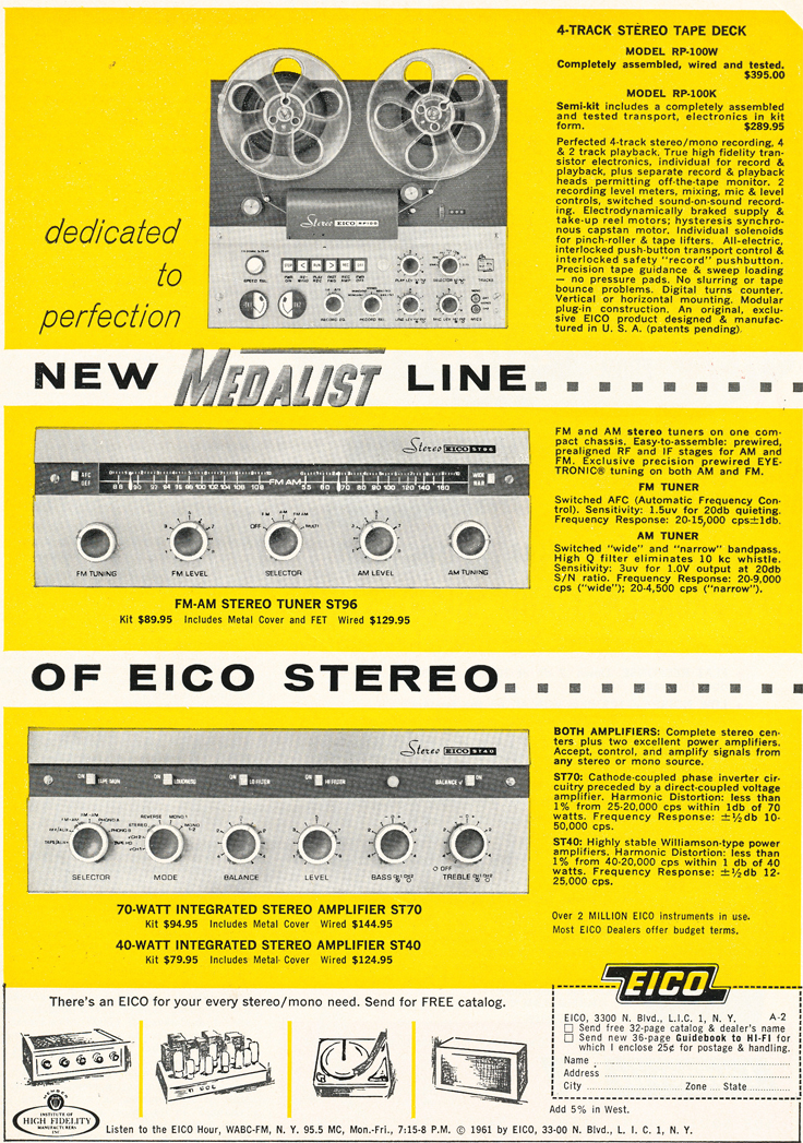 1961 ad for the Eico RP-100 reel to reel tape recorder in   Reel2ReelTexas.com's vintage recording collection