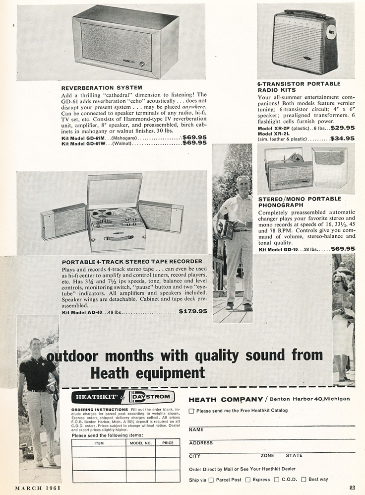 1961 ad for HeathKit reel to reel tape recorders in Phantom productions' vintage recording collection